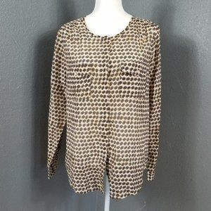 Ann Taylor L Blouse Loft Silk Light Top Leopard